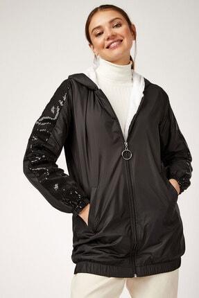 Bigdart Kadın Siyah Kolları Payetli Mont 5103