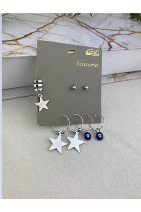 Accessories Kadın Takıntı Kıkırdak Küpe Set Nazarlı Silver
