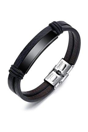 Chavin Kadın Siyah Parlak Çelik ve Deri Çelik Bileklik ehy-dy76sy