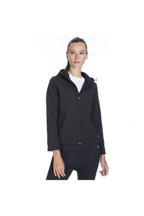 Sportive Kadın Siyah Kapüşonlu Outdoor Mont 710755-syh