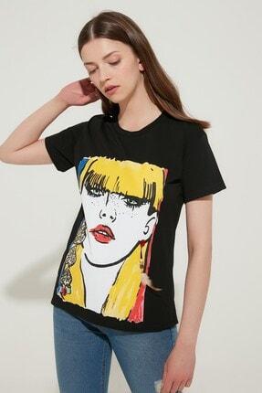 Zindi Kadın Işlemeli Baskılı T-shirt Siyah
