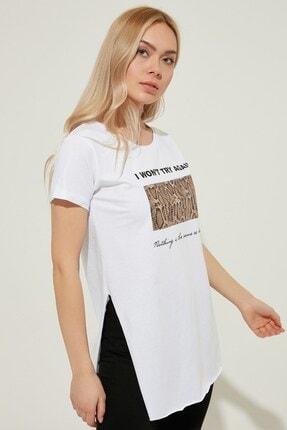 Zindi Kadın Parlak Baskılı T-shirt Beyaz