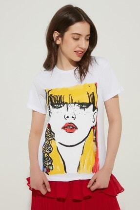 Zindi Kadın Işlemeli Baskılı T-shirt Ekru