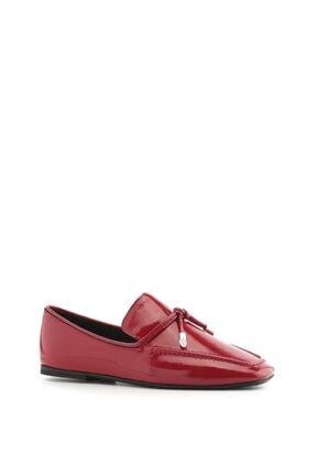 İlvi Elena Kadın Makosen Ayakkabı Koyu Kırmızı Rugan