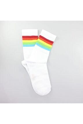 Hane14 Sporty Renkli Çizgili Kısa Koton Spor Çorap Beyaz