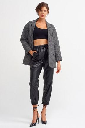 Dilvin Kadın Siyah Deri Jogger Pantalon