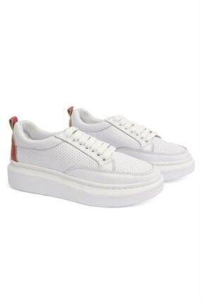 Letoon 2001 Kadın Günlük Deri Ayakkabı - Beyaz - Kırmızı