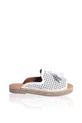 Bueno Shoes Püskül Detaylı Hakiki Deri Kadın Düz Terlik 9n3105