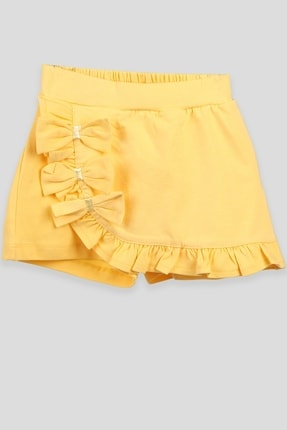 Breeze Kız Çocuk Etek Şort Fırfırlı Kurdeleli Sarı (2-10 Yaş)