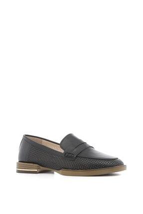İlvi Andrea Kadın Makosen Ayakkabı Siyah Deri