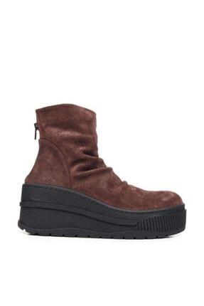 Bueno Shoes Fermuarlı Hakiki Deri Kadın Dolgu Topuk Bot 9m4708