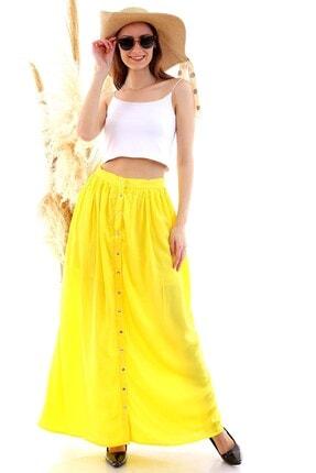 Cotton Mood 20050515 Dok. Viskon Kraşlı Önü Çıtçıtlı Uzun Etek Sarı