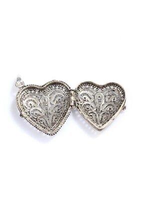 Nusret Takı 925 Ayar Gümüş Açılır Kalp Modeli Telkari Kolye Ucu