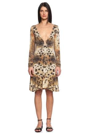 Just Cavalli Leopar Desenli Mini Elbise