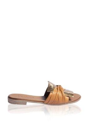 Bueno Shoes Fiyonk Detaylı Hakiki Deri Kadın Düz Terlik 9l2735