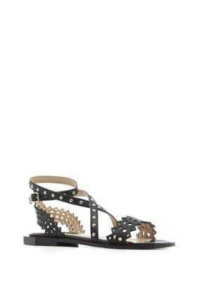 İlvi Bell Bayan Sandalet Siyah Deri