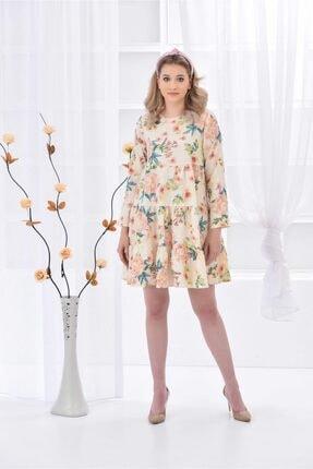 İroni Kadın Bej Gofreli Çiçek Desen Elbise
