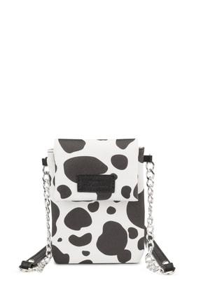 Housebags Kadın Siyah Beyaz Desenli Omuz Askılı Cep Telefonu Çantası 199