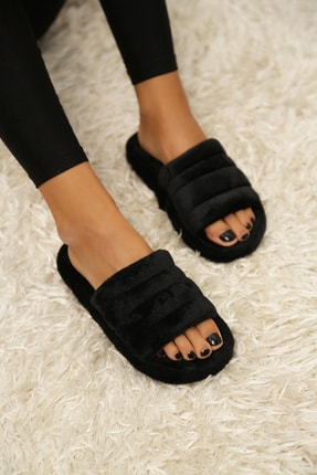 Ayakkabı Modası Kadın Siyah Kadife Ev Terliği