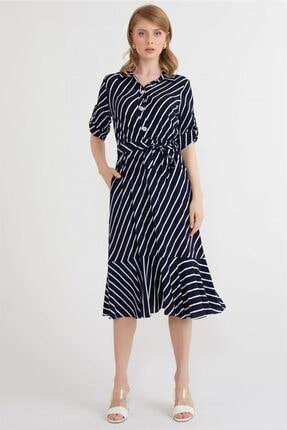 Chima Verev Çizgili Elbise