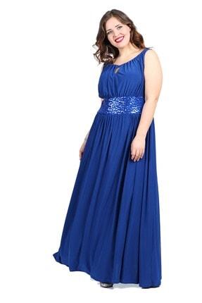 ANGELINO Kadın Saks Abiye Elbise KL5089