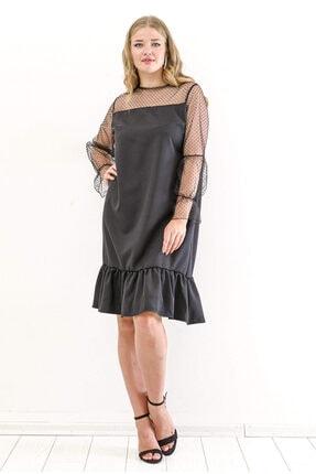 ANGELINO Kadın Siyah Büyük Beden Altı Fırfırlı Puantiye Tül Elbise