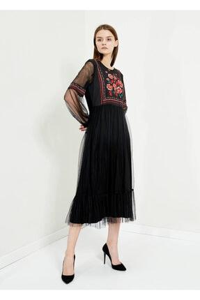 Cazador Kadın Siyah Kol Tüllü Bel Büzme Uzun Elbise