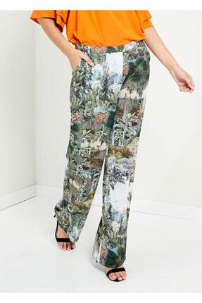 Cazador Kadın Yeşil Çiçek Baskılı Bol Paça Pantolon
