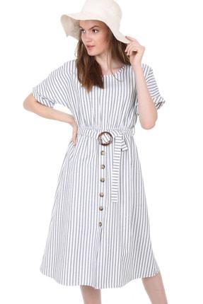Bigdart Kadın Beyaz Bel Kemer Süs Düğmeli Kısa Kol Elbise 1682