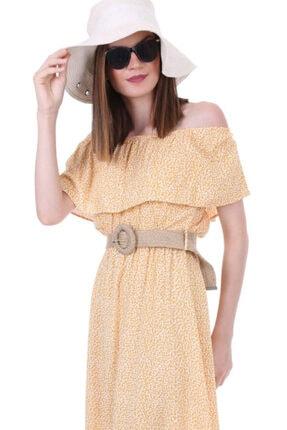 Bigdart Kadın Sarı Desenli Carmen Yaka Elbise 1713