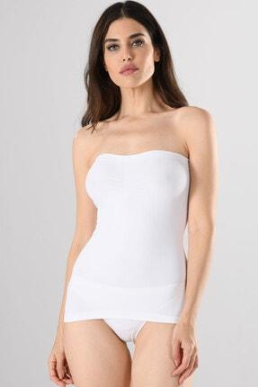 Miss Fit Büzgülü Straples Uzun 11040 Beyaz Örme Seamless Dikişsiz Soft Basic Kadın Atlet