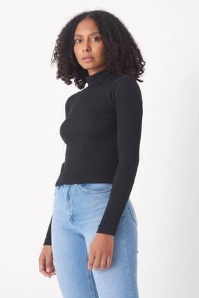 Addax Kadın Siyah Yarım Balıkçı Yaka Bluz B1009 - K4 ADX-0000016241
