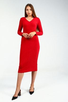 Collezione Kırmızı Kadın V Yaka Triko Uzun Kol Elbise