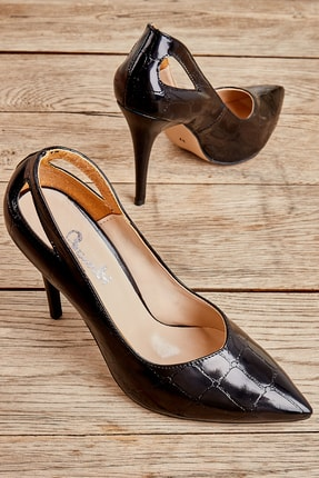 Bambi Siyah Kadın Klasik Topuklu Ayakkabı L05014180