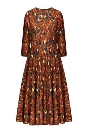 Faberlic Kahverengi Firebird Desenli Uzun Elbise 40 Beden