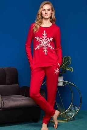 PENYE MOOD Penye Mood 8651 Kadın Kırmızı Kar Tanesi Pijama Takımı