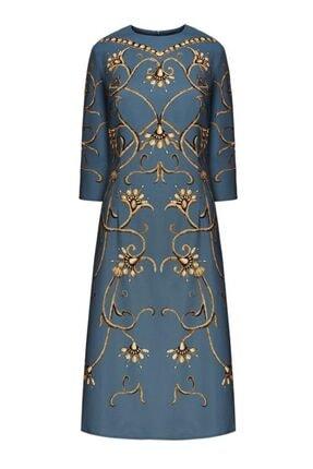 Faberlic Mavi Monogram Desenli Elbise 38 Beden