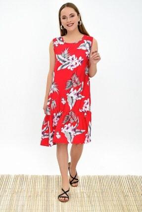 Cotton Mood 9323232 Dok.viskon Desenli Eteği Fırfır Kolsuz Elbise Kırmızı Çıçeklı