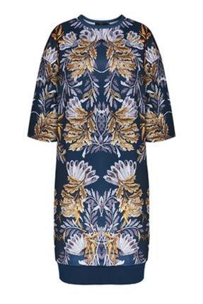 Faberlic Mavi Yarım Kollu Desenli Elbise 44 Beden