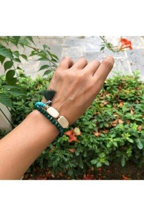 Hane14 Püsküllü Turkuaz Mavi & Yeşil Taşlı Bileklik