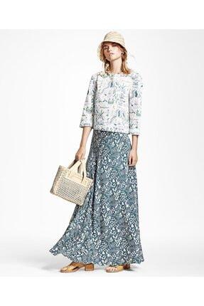 Brooks Brothers Kadın Yeşil Çiçek Desenli Uzun Etek