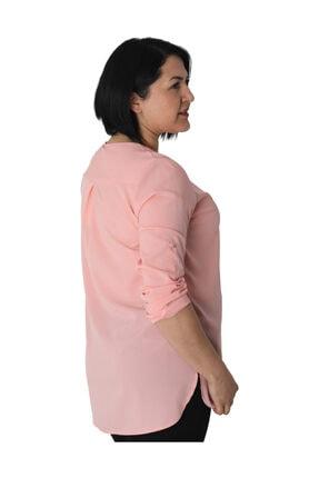 Günay Kadın Bluz Bb205 Ilkbahar Yaz O Yaka Düğme Detay-pudra