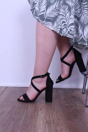 Derigo Siyah Süet Kadın Topuklu Sandalet 196302