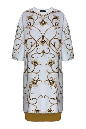 Faberlic Gri Yarım Kollu Monogram Elbise 38 Beden