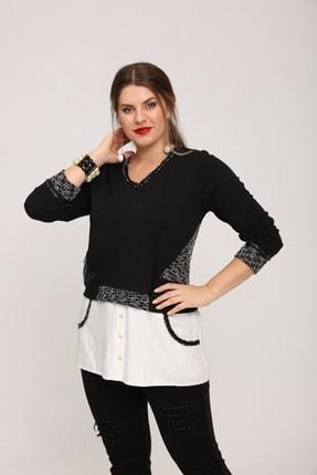 Günay Kadın Tunik Lm43350 Sonbahar Kış V Yaka Gömlek Detay