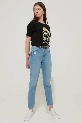 Zindi Kadın Yüksek Bel Jeans Buz Mavi