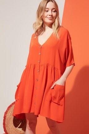 Zindi Kadın Düğme Detaylı Cepli Elbise Oranj