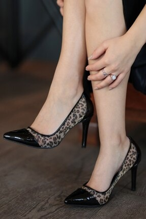 Mio Gusto Rita Leopar Desen File Topuklu Ayakkabı