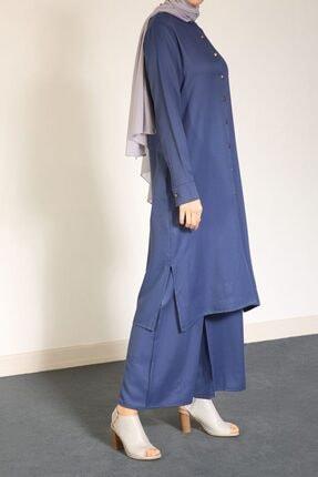 ALLDAY Indigo Yarece Düğmeli Tunik Pantolon Ikili Takım