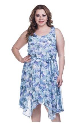 MYLİNE Yaprak Desenli Şifon Astarlı Elbise